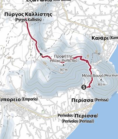 Map / Perissa to Pyrgos