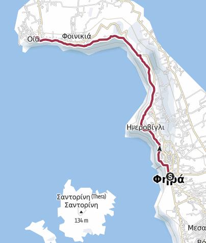Map / Fira to Oia