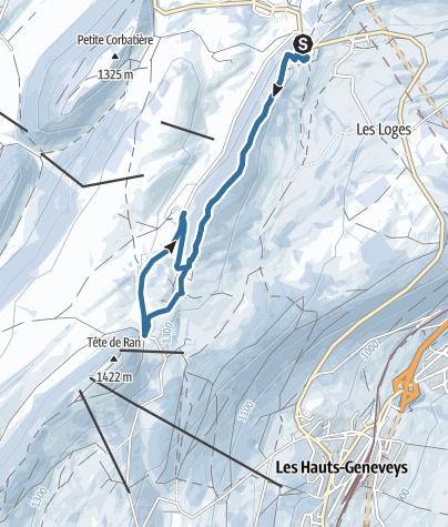 Karte / Von Vue des Alpes nach Tête de Ran
