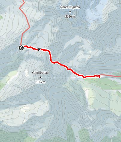 Karte / Sentiero Roma Etappe 5 – Vom Rifugio Ponti zum Rifugio Bosio