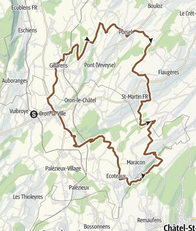 Karte / Durch die Hügel östlich von Oron