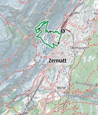 Kartta / Klettersteig Zermatt - Route B