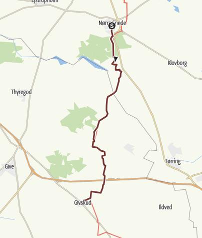 Map / Via Jutlandica: Nørre Snede - Givskud