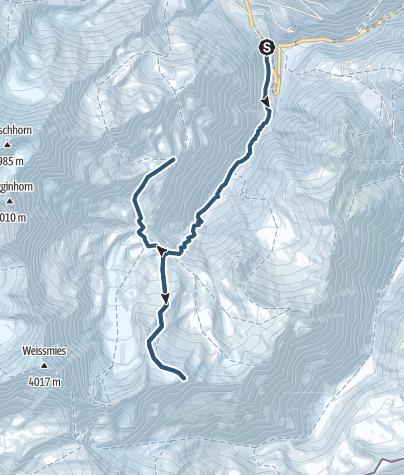 Karte / Skitour auf das Tossenhorn (3225 m.ü.M.)