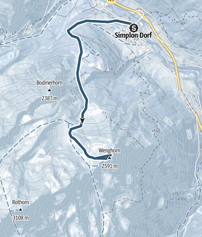 Karte / Skitour auf das Wenghorn (2587 m.ü.M.)