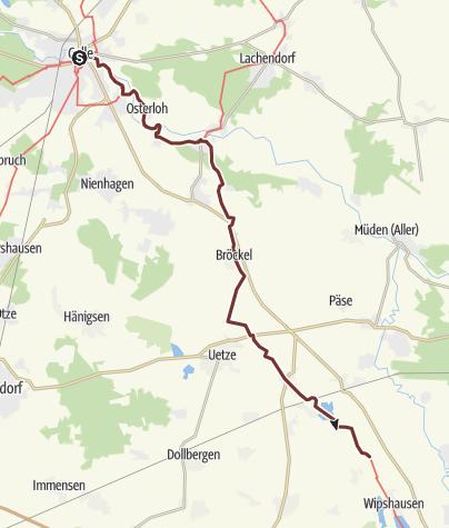 Karte / Via Romea: Celle - Rietze