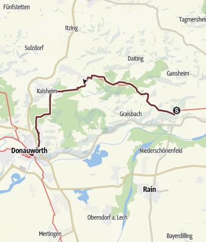 Karte / Ostbayerischer Jakobsweg: Etappe 12 Schweinspoint - Donauwörth