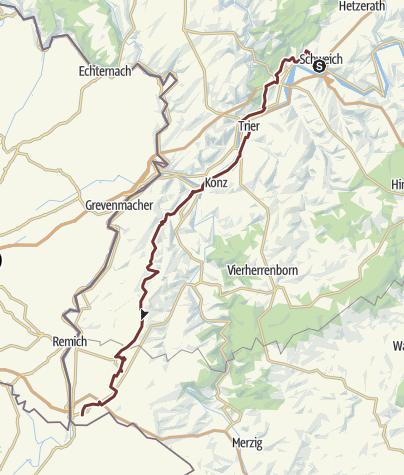 Karte / Marburg-Vézelay-JW: Schweich - Perl