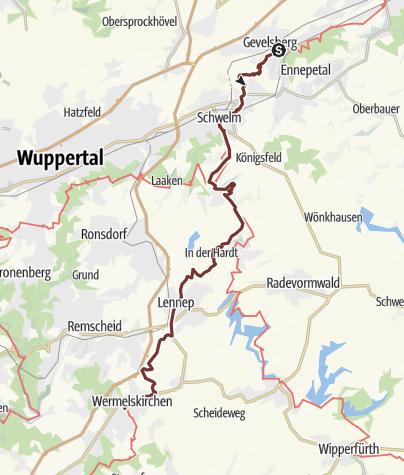 Mapa / Nordrhein-JW: Gevelsberg - Wermelskirchen