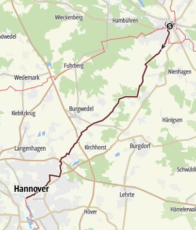 Karte / Via Scandinavica: Celle - Hannover