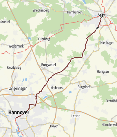 Karte / Via Scandinavica: Celle - Hannover