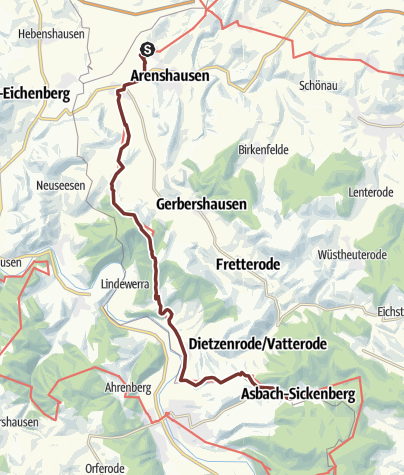 Karte / Via Scandinavica: Kirchgandern - Asbach