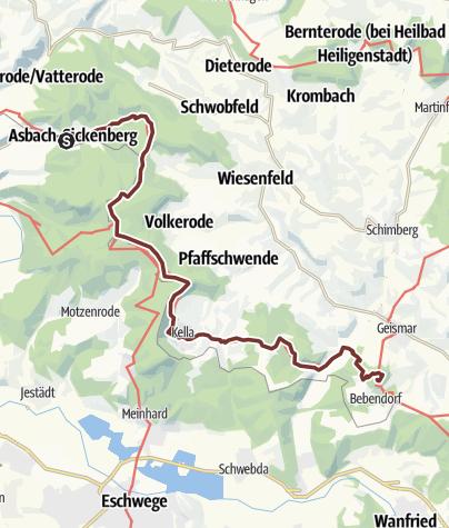 Karte / Via Scandinavica: Asbach - Hülfensberg