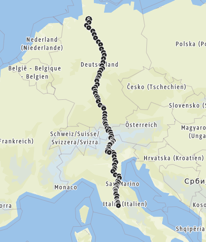 Karte / Via Romea Stade - Montefiascone