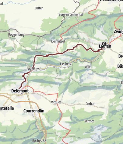 Karte / Juraweg Nebenroute Basel - Delémont