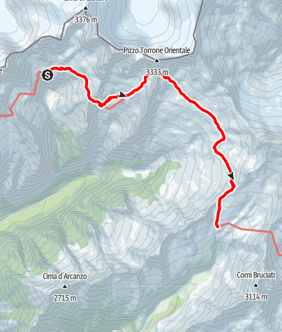 Karte / Sentiero Roma Etappe 4 – Von der Capanna Allievi zum Rifugio Ponti