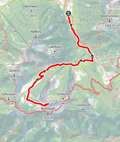 Karte / Blankenstein (1.768 m) Ostgrat - Gratüberschreitung in den bayerischen Voralpen