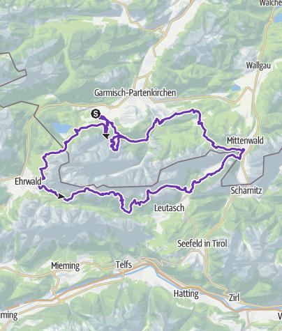 Karte / SALOMON ZUGSPITZ ULTRATRAIL 2019 powered by LEDLENSER - Strecke: Ultratrail