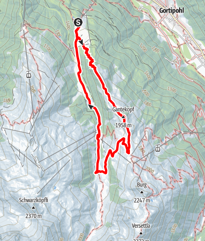 Karte / Alpwanderung Nova über Panoramaweg Gantakopf