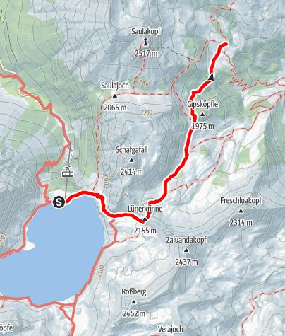 Karte / Montafoner Hüttenrunde - Douglasshütte - Heinrich Hueter-Hütte
