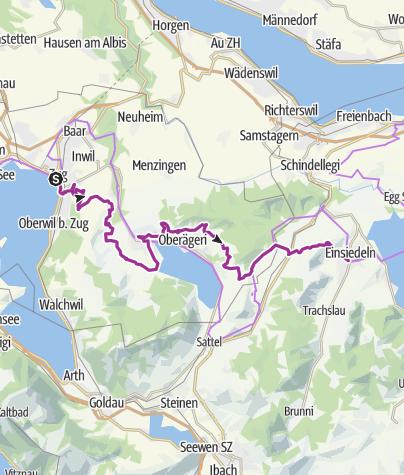 Karte / Herzroute - Etappe 8: Zug-Einsiedeln (SchweizMobil Route 99)