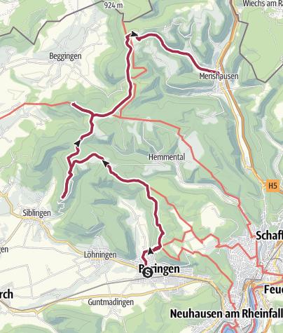 Map / Von Beringen über die Randentürme nach Merishausen