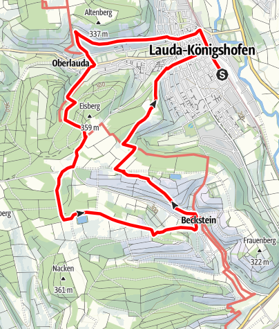Karte / Rundwanderung: Lauda - Oberlauda -  Beckstein - Lauda