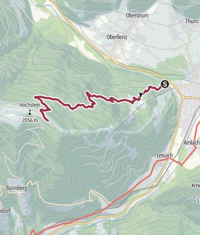 Karte / Zustieg zur Hochsteinhütte von Schloss Bruck in Lienz