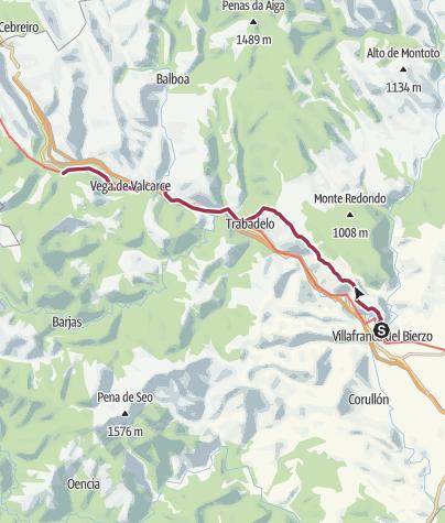 Cartina / Villafranca del Bierzo to Herrerias de Valcarce