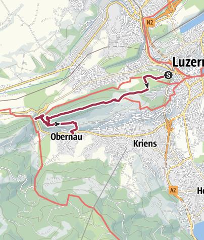 Carte / Vom Gütsch über den Sonnenberg nach Kriens