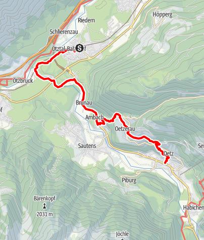 Karte / Ötztaler Urweg E1 Ötztal Bhf - Oetz