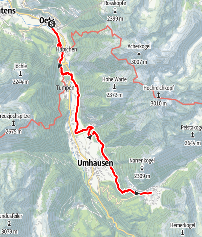 Karte / Ötztaler Urweg E2 Oetz - Niederthai