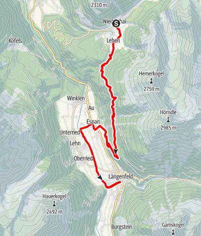 Karte / Ötztaler Urweg E3 Niederthai - Längenfeld