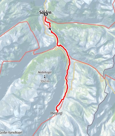 Karte / Ötztaler Urweg E5 Sölden - Obergurgl