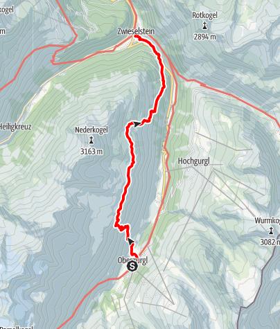 Karte / Ötztaler Urweg V1 Obergurgl - Zwieselstein