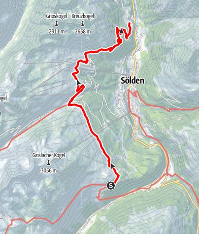 Karte / Ötztaler Urweg E8 Gaislach - Granstein