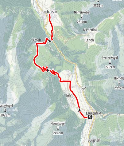 Karte / Ötztaler Urweg E10 Längenfeld - Umhausen