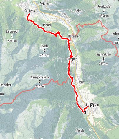 Karte / Ötztaler Urweg E11 Umhausen - Sautens