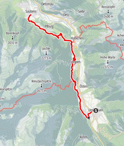 Map / Ötztaler Urweg E11 Umhausen - Sautens