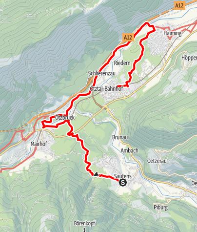 Karte / Ötztaler Urweg E12 Sautens - Haiming - Ötztal Bhf