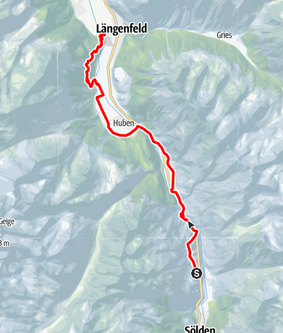Karte / Ötztaler Urweg E9 Granstein - Längenfeld