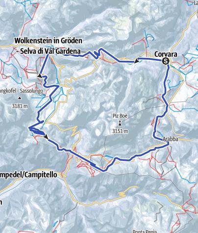 Carte / Sellaronda – entgegen dem Uhrzeigersinn (grün)
