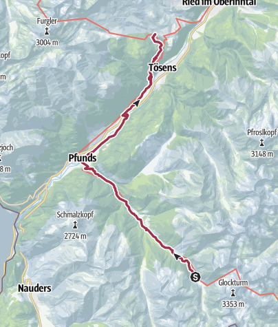 Karte / 02 Zentralalpenweg West, E31: Hohenzollernhaus – Serfaus