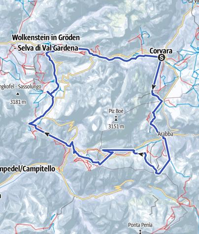 Mapa / Sellaronda – im Uhrzeigersinn (orange)