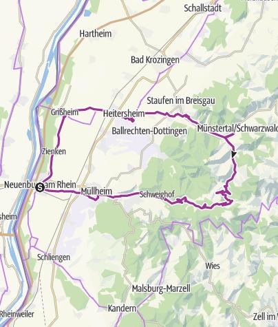 Karte / Mytische Orte am Oberrhein - Neuenburg – Münstertal