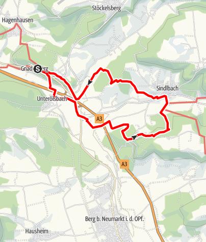 Karte / Rundwanderung: Gnadenberg-Unterölsbach-Oberölsbach-Haimburg-Sindlbach-Gnadenberg