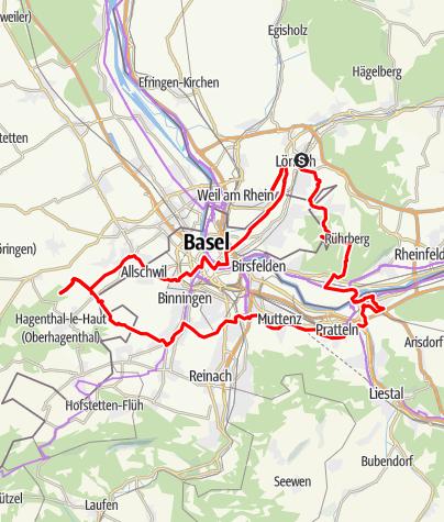 Karte / Mytische Orte am Oberrhein - Lörrach – Basel