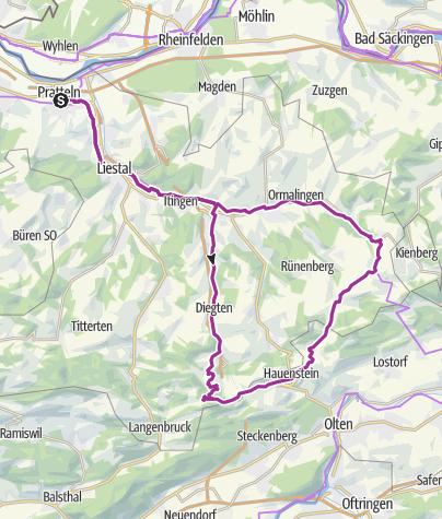 Karte / Mytische Orte am Oberrhein - Eptingen – Otlingen