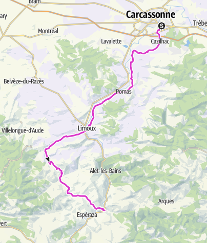 Limoux France Map.Carcassonne To Couiza Road Bike Outdooractive Com
