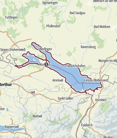 Mapa / Bodensee Rundweg: zu Fuß den See umwandern